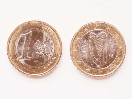 ie: Currency of Europe 1 Euro coin from Ireland vintage Stock Photo