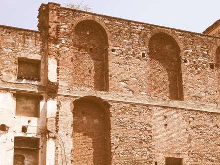 house demolition: House ruin debris following bomb blast and demolition vintage