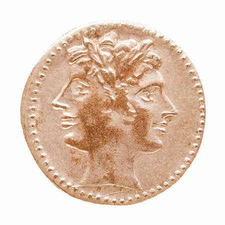 janus: Ancient Roman coin isolated over white background vintage Stock Photo