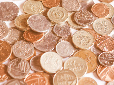 pence: Pounds and pence - currency of the United Kingdom vintage Stock Photo