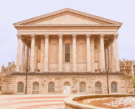 venue: Vintage looking Birmingham Town Hall concert hall venue built in 1834 in Victoria Square, Birmingham, England, UK