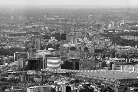 blackandwhite: Aerial view of the Houses of Parliament in London, UK in black_and_white