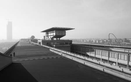 roof top: TURIN, ITALY - DECEMBER 16, 2015: Roof top race track at Lingotto former Fiat car factory Editorial