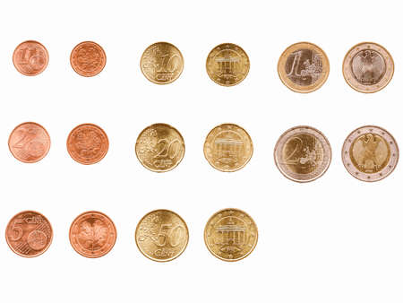 euro coins: Full range of Euro coins currency of the European Union vintage