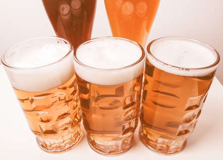 weiss: Many glasses of German beers including weiss dunkel and lager vintage Stock Photo