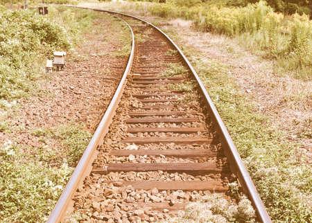 railtrack: Detail of Railway railroad tracks for trains vintage