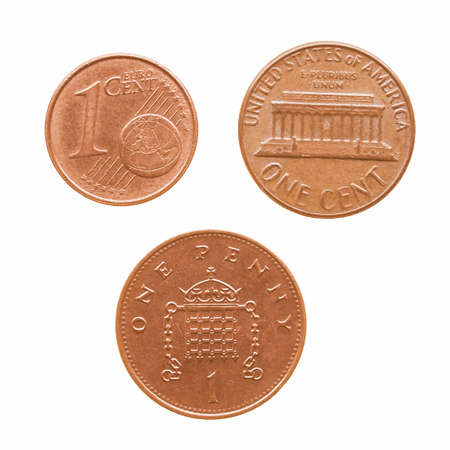 penny: One Euro cent One Dollar cent One Penny coins vintage Stock Photo