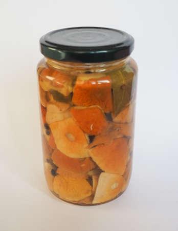cep: Boletus edulis aka penny bun or porcino or cep mushrooms in a glass jar