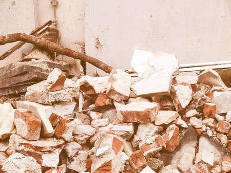 House debris following blast bombing and demolition vintage