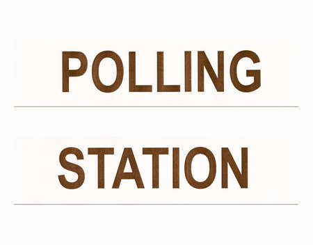 voters: Polling station place for voters to cast ballots in elections - isolated over white background vintage