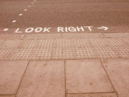 look right: Look right sign in London street in England vintage