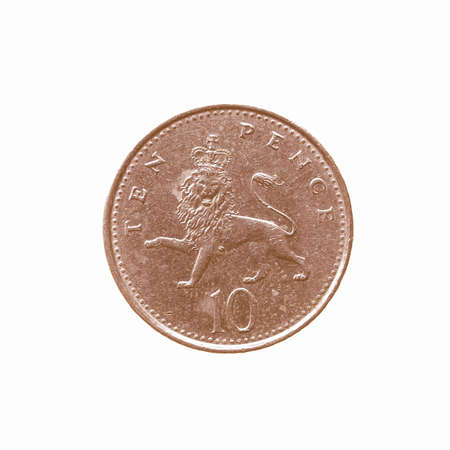 pence: Ten Pence coin isolated over a white background vintage Stock Photo