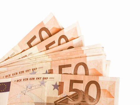 european union currency: Euro bank notes money (European Union currency) vintage Stock Photo
