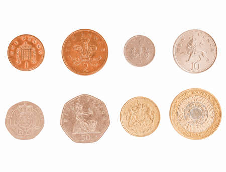pence: Full series of Pound and Pence coins currency of the United Kingdom isolated over white vintage