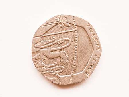 pence: Twenty pence coin currency of the United Kingdom vintage Stock Photo