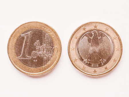 1 euro: Currency of Europe 1 Euro coin from Germany vintage