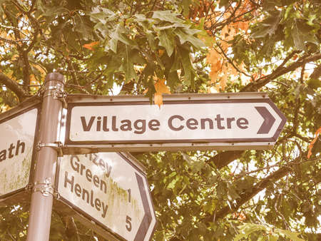 arden: Village centre sign in Tanworth in Arden, UK vintage