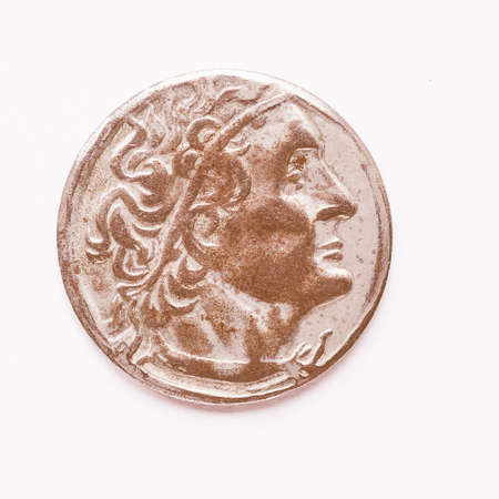 greek currency: Ancient Greek coin from Greece vintage Stock Photo