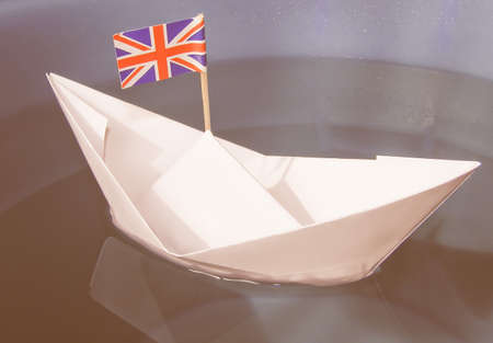 brit: Paper ship with Union Jack UK Flag vintage