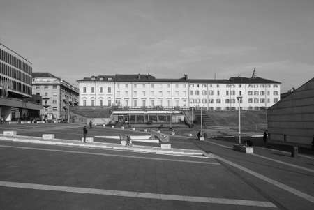 brew house: TURIN, ITALY - DECEMBER 16, 2015: Piazzale Valdo Fusi square with a jazz club, a beer garden, the Museum of Natural History, the Chamber of Commerce Editorial
