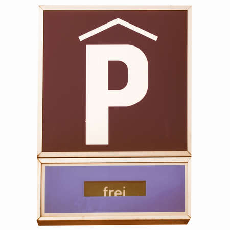 frei: A road sign for a parking area - in German (Deutsch) - isolated over white background vintage Stock Photo