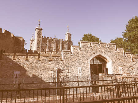 dungeons: Vintage looking The Tower of London in London, UK