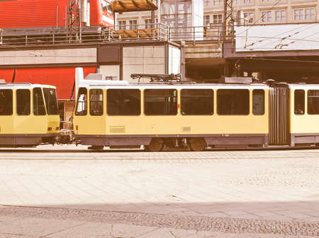 transit: Tramway train for public transport mass transit vintage Stock Photo