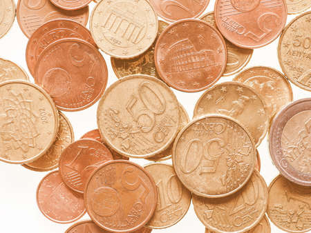 eec: Euro coins currency of the European Union vintage