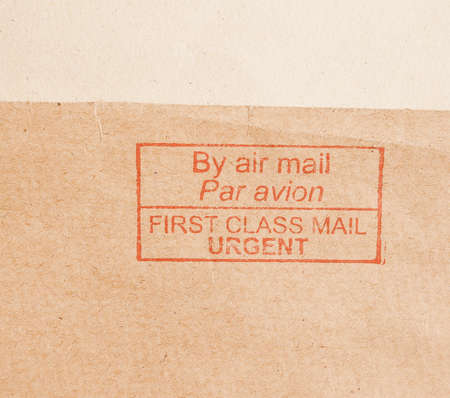 first class: Postage meter for urgent first class by air mail vintage