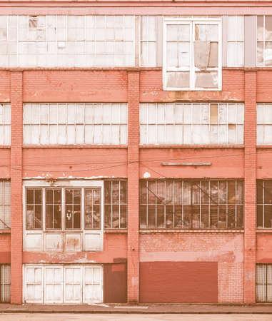 brick building: Detail of vintage industrial architecture in abandoned building vintage