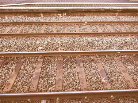 railway: Railway railroad tracks for train public transport vintage Stock Photo