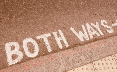 Look both ways sign in a London street vintage
