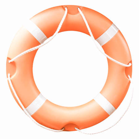 safety buoy: A life buoy for safety at sea isolated over white background vintage