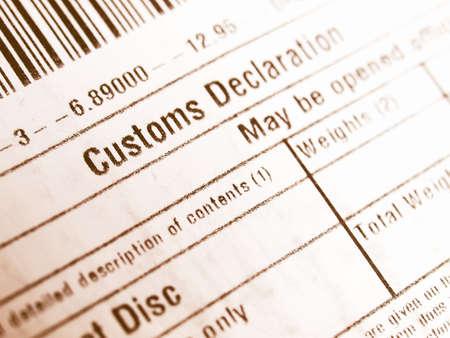 déclaration en douane sur une parcelle vintage paquet étranger
