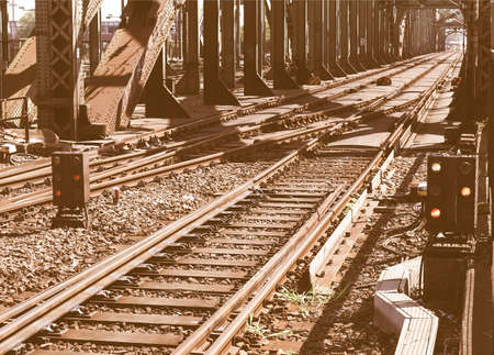 turnout: Detail of Railway railroad tracks for trains vintage