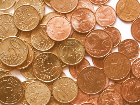 european currency: Euro coins money (European currency) useful as a background vintage