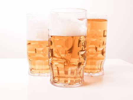 pilsner beer glass: Many large glasses of German lager beer vintage Stock Photo