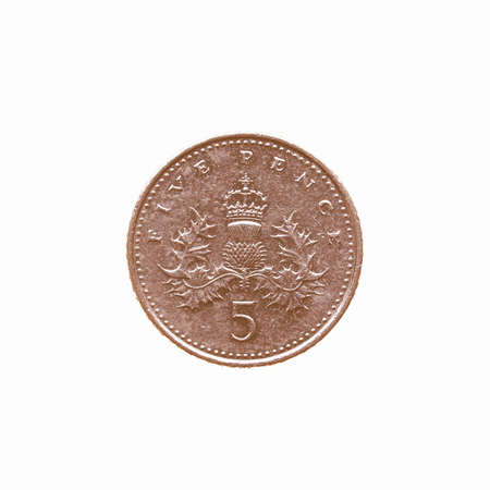 pence: Five Pence coin isolated over a white background vintage Stock Photo