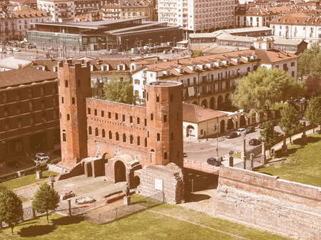 palatine: Aerial view of Palatine towers aka Porte Palatine, ruins of ancient roman town gates in Turin vintage Editorial
