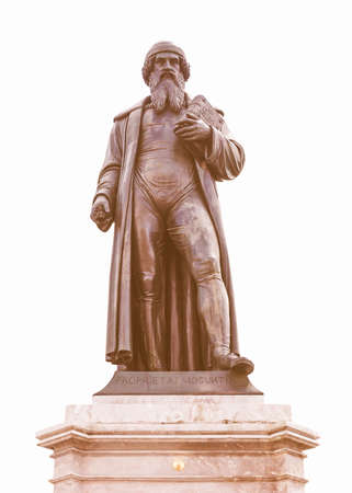 gutenberg: Gutenberg statue monument in Mainz in Germany - isolated over white background vintage Stock Photo
