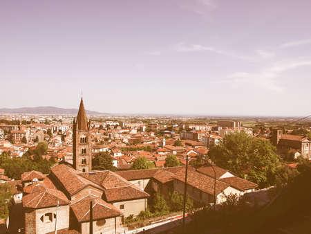 castello: Turin panorama seen from the Castello di Rivoli hill vintage Stock Photo