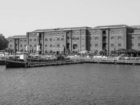 docklands: LONDON, UK - JUNE 11, 2015: West India Quay in Docklands in black and white