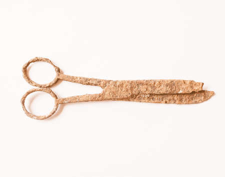 ancient atlantis: Ancient rusted scissors archeological finding in a wrecked ship under the sea vintage