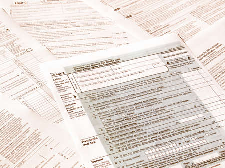 government services: Range of various blank USA tax forms vintage