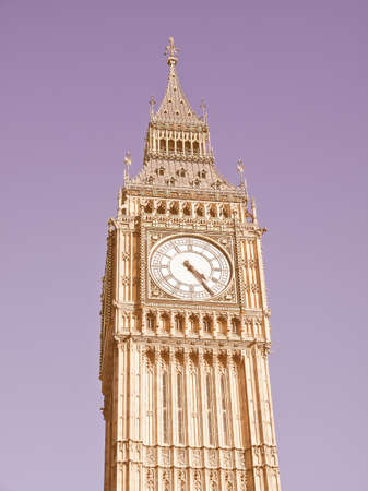 bigben: Big Ben Houses of Parliament Westminster Palace London gothic architecture - over blue sky background vintage