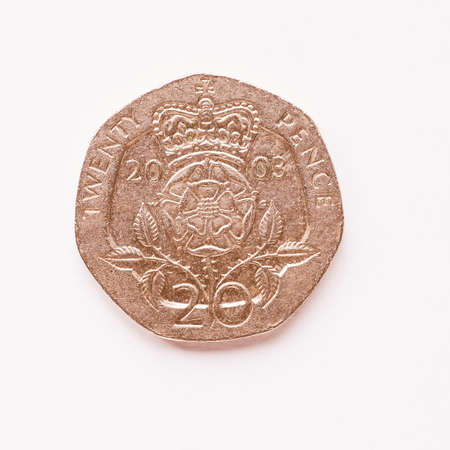 pence: Currency of the United Kingdom 20 pence coin vintage