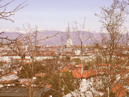 seen: City of Turin (Torino) skyline panorama seen from the hill vintage