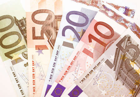 Euro banknote (currency of the European Union) vintage Stock Photo