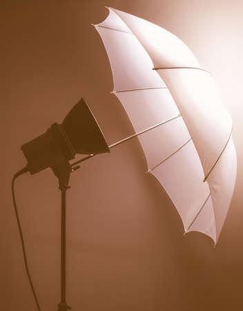Light umbrella reflector used in photographic studio vintage