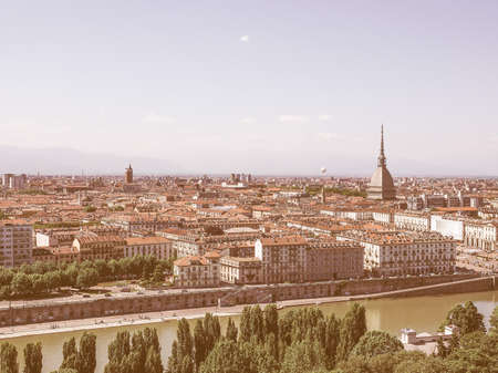 seen: Aerial view of the city of Turin, Italy seen from the hill vintage Stock Photo